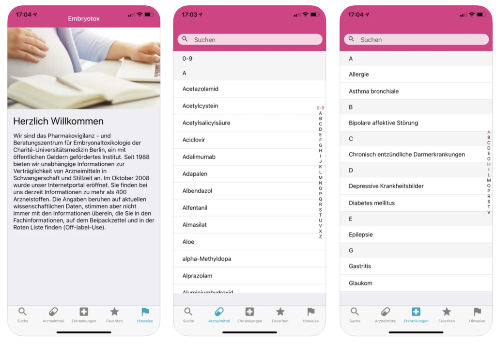 Embryotox App Screenshot
